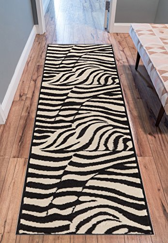 Woven Zebra - Well Woven Zebra Black and Beige 2' x 7'2