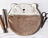 Bear Cosmetic Bag, Fluffy Makeup Bag 20 x 20 cm. (7.8 x 7.8 in.) - Gift for Girlfriend, Cute Pencil Case, Brown Makeup Organizers, Gifts for Women