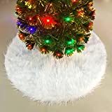 JUSLINK 30.7 inches Snowy White Christmas Tree Skirt for Christmas Decorations