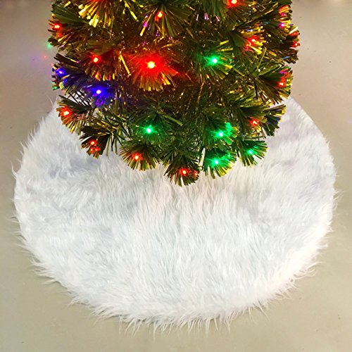 JUSLINK 30.7 inches Snowy White Christmas Tree Skirt for Christmas Decorations (Christmas Small Tree Skirts)