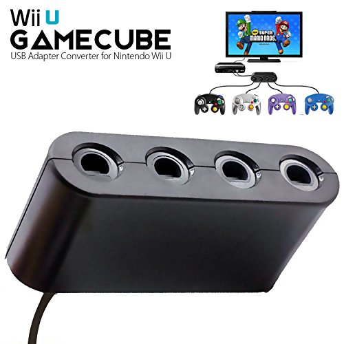 BRHE Gamecube Controller Adapter for Nintendo Switch/Wii U/PC USB, NGC Controller Connection Tap Converter for Wii U Super Smash Bros, Switch, MAC OS PC Windows with 4 Ports No Need ()