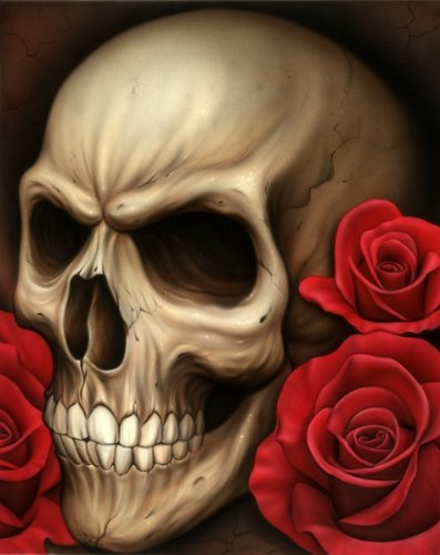 Spider's Skull Spider Gothic Skull Death Roses Tattoo Artwork Canvas Art Print