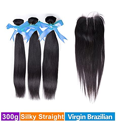 Rechoo Brazilian Virgin Remy Straight Hair 3 Bundles 300g with 4x4 Lace Closure Human Hair Extensions Bundles with Three Part Closure(12 14 (Boss L12)