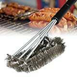 """LETSBAY 360 Degree CLEAN GRILL BRUSH- 18"""" Best BBQ Grill Brush-3 Stainless Steel Brush In 1-Effortless Cleaning-BBQ Accessories-Stiff Light Weight Design-For Weber,Char-Broil,Porcelain&Infrared Grill"""