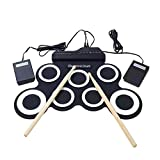 Aolvo Portable Foldable Roll Up MIDI Drum Kit,Electronic Drum Set with Drum Sticks, Foot Pedals&Power Supply for Practice Starters Kids