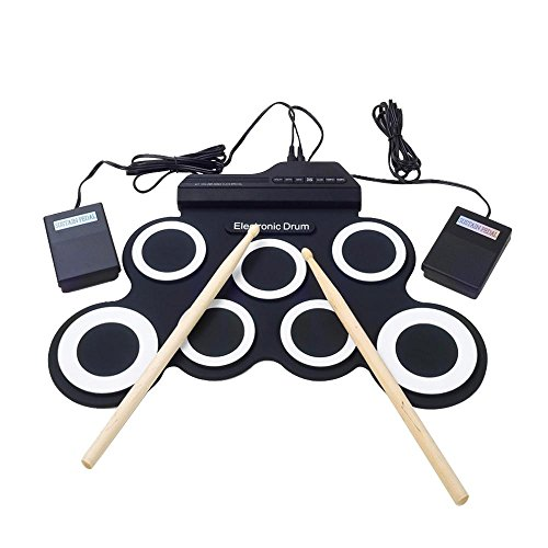 Aolvo Portable Foldable Roll Up MIDI Drum Kit,Electronic Drum Set with Drum Sticks, Foot Pedals&Power Supply for Practice Starters Kids by Aolvo