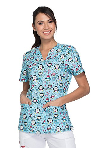 Dickies Everyday Scrubs Signature by Women's V-Neck Winter Print Scrub Top Medium Print