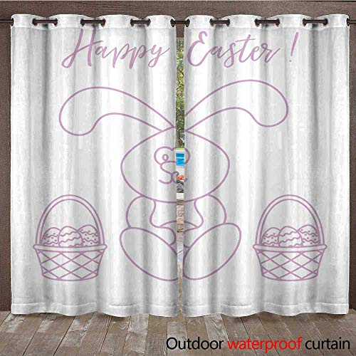 RenteriaDecor Outdoor Balcony Privacy Curtain Easter Rabbit and Two Baskets of Decorated Eggs W84 x L108