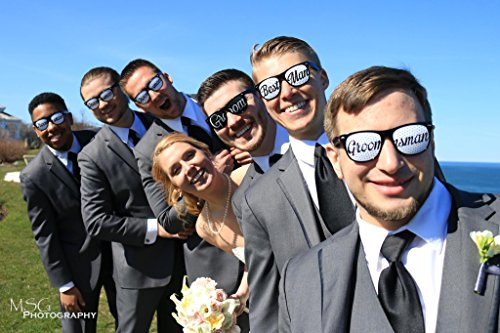 Groom-Party-Wedding-Sunglasses-Perfect-Favors-for-Bachelor-Parties-Receptions-Pictures-and-Photo-Booths-1x-Groom-1x-Best-Man-4x-Groomsman-Black-and-White