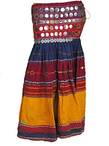 [Long Authentic Banjara Skirt Handmade Indian Vintage Belly Dancing Costume M] (Banjara Dance Costumes)