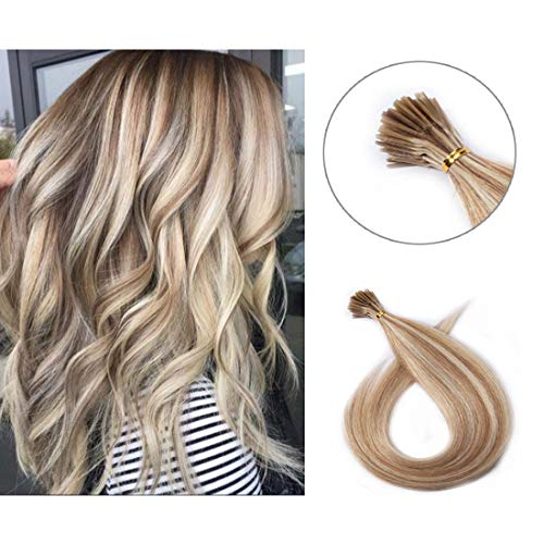 Pre bonded I Tip Human Hair Extension for Women Fusion Stick Tip Remy Human Hair Piece Invisible Keratin Glue Full Head 100 Strands 50 Gram 18Inch #12P613 Golden Brown&Bleach Blonde