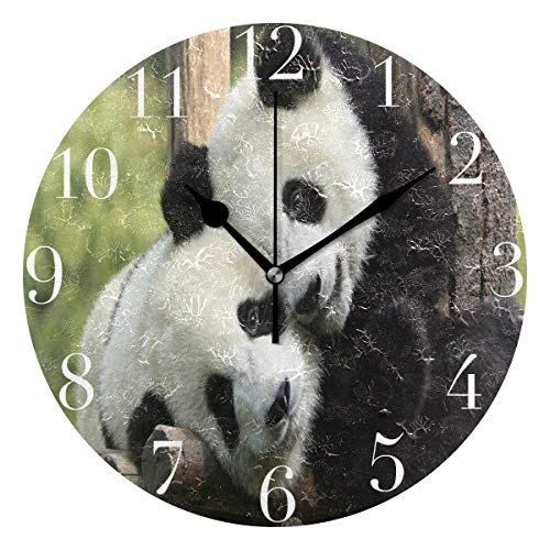 NMCEO Round Wall Clock Cute Panda Love Acrylic Original Clock for Home Decor Creative