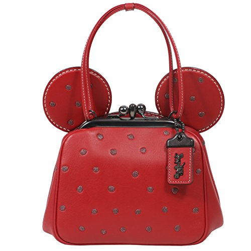 Coach Mickey Bag Crossbody Saddle Leather with Mickey Ears Kiss Lock (Red) by Coach