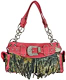 Texcyngoods Womens Camo Purse Satchel with Fringe and Rhinestone Buckle Handbag (Hot Pink), Bags Central