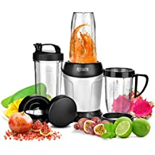 Fitnate Kitchen's Food Processer High-Speed 1200W Pulverizing Bullet-Shaped Blender Fruit Mixer Including Cups And Extra Blades (Silver&Black) 10Pcs, Bonus Ebook Receipes