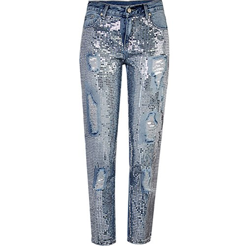 LIYT Women's Fashion Sequins Are Decorated Loose Straight Hole Ripped Jeans Ninth Pants (Sequin Jeans Pants)