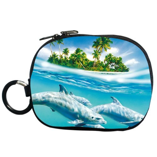 Palm Trees and Crystal Blue Sea Lovely Dolphin Personalized Coin Purse (Two Side)