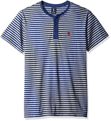 U.S. Polo Assn. Men's Short Sleeve Candy Stipe Henley Knit Shirt
