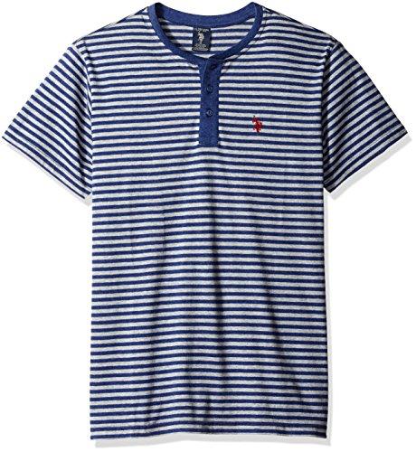 U.S. Polo Assn. Men's Short Sleeve Candy Stipe Henley Knit Shirt