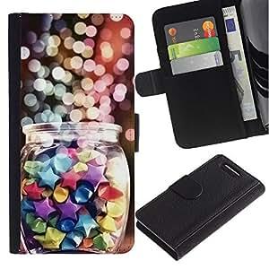 Stuss Case / Funda Carcasa PU de Cuero - Jar decoraci¨®n del arte del brillo Dise?o de las estrellas - Sony Xperia Z3 Compact