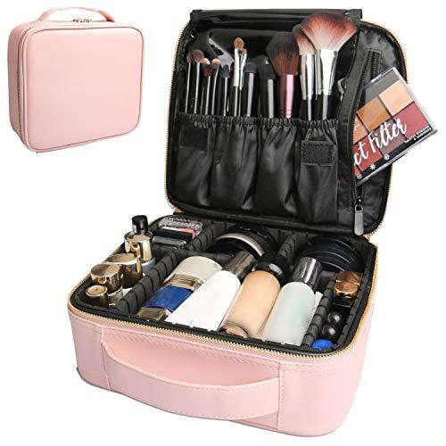 Bvser Travel Makeup Case, PU Leather Portable Organizer Makeup Train Case Makeup Bag Cosmetic Case with Adjustable…