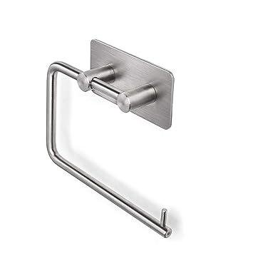 SELF-ADHESIVE Stainless Steel Toilet Paper Roll Holder Bathroom Towel Bar Rack