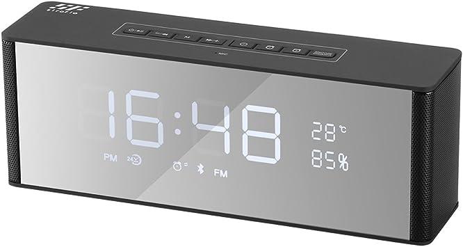 Bluetooth sans fil Miroir Bass Haut-parleur digital radio FM Double Alarme Horloge aux Royaume-Uni