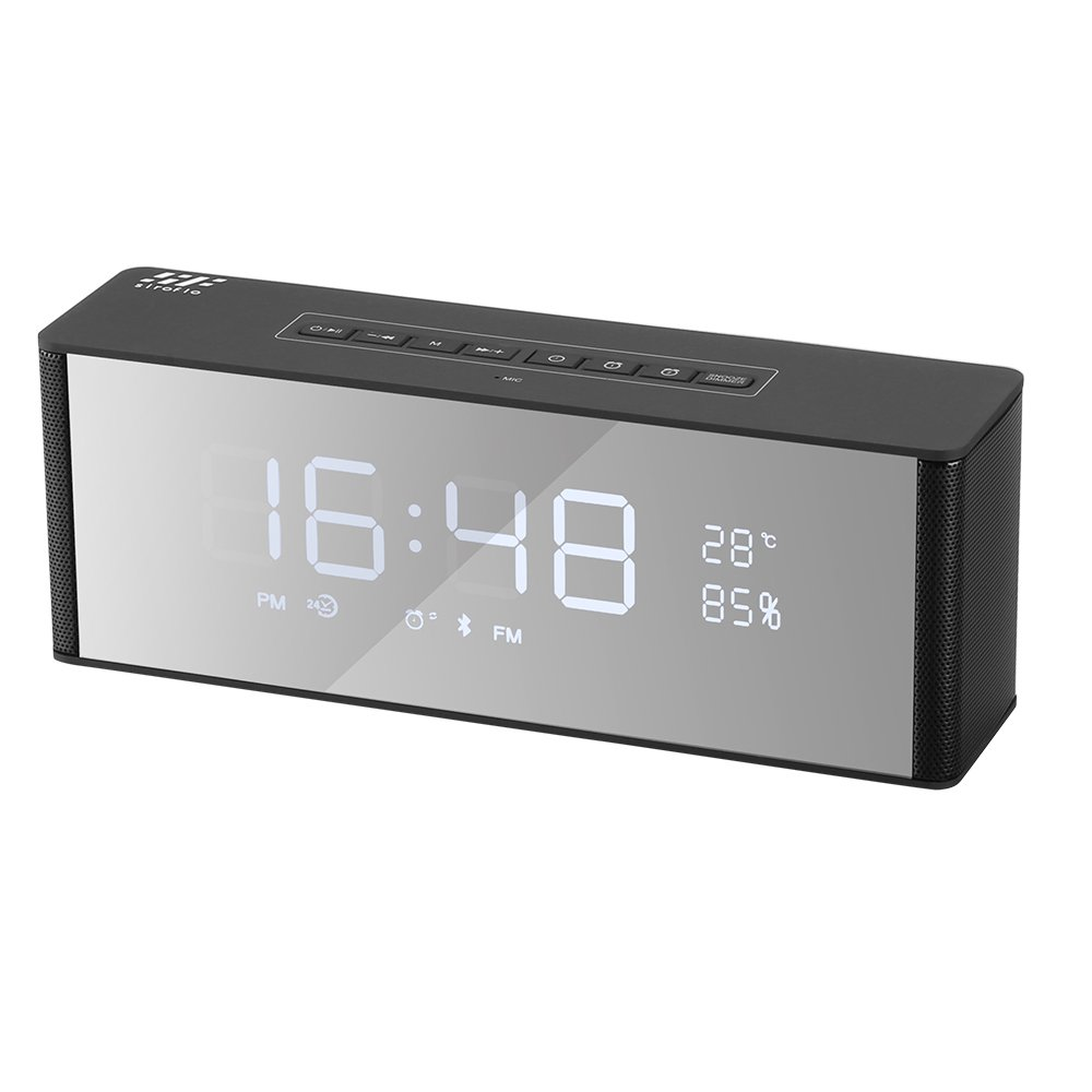 Bluetooth Speaker with Alarm Clock, Siroflo Portable Wireless Stereo Sound Speaker Support FM/TF Card/USB, Loudspeakers Super Bass with FM Radio,Handsfree Calling, Indoor Temperature Display, LED Nightstand Clock & LED Dimmable Display - Black