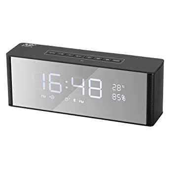 Radio Despertador Bluetooth, Siroflo Altavoz Inalámbrico con Reloj, Radio, 2 Despertador, Micrófono