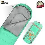 sleeping bag - JBM Sleeping Bag with Compact Bag in 4 Seasons Multi Colors Blue Green Insulated Waterproof and Repellent Semi Rectangular Printed Pattern 0℃/32℉ (Green, Single Sleeping Bag)