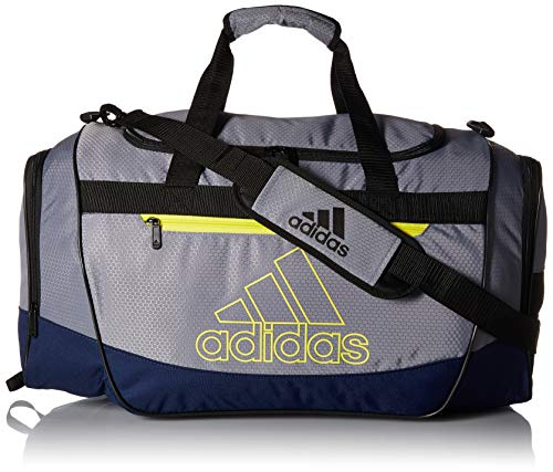 adidas Defender III Medium Duffel, Grey/Dark Blue/Shock Yellow/Black, One Size