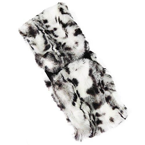 (FUNOC New Ladies Womens Luxury Faux Fur Headband Winter Ski Ear Muffs Earwarmers Hat (Gray Leopard))