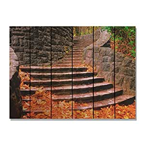 Daydream Gizaun Art Fall Steps Indoor/Outdoor Full Color Cedar Wall Art, Multicolor, Wood, 33 x 24 in.