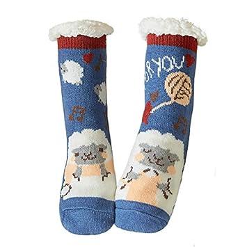 YMFIE 2 Pares de otoño e Invierno más Terciopelo Engrosamiento Divertidas Zapatillas Calcetines Calcetines caseros Calcetines Antideslizantes: Amazon.es: ...
