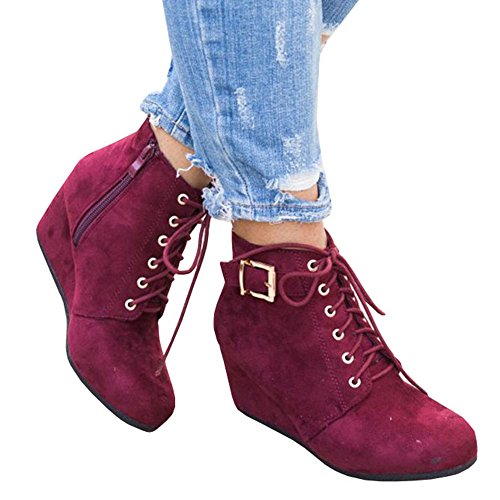Platform Suede Booties - Womens Ankle Wedge Booties Lace Up Velvet Low Heel Platform Faux Suede Shoes
