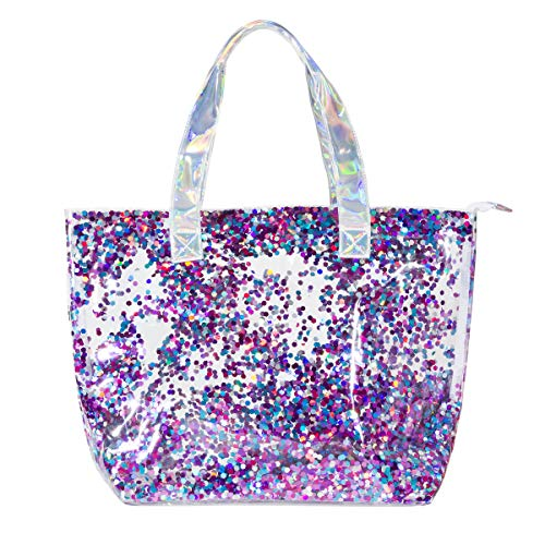 Girls Multi-Use Double Layer PVC Shine Bright Fashion Tote - Filled with Sparkling Confetti - Large 20