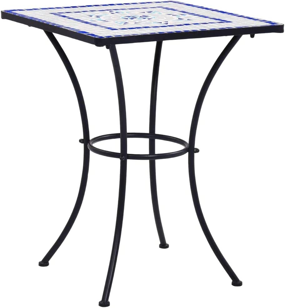 Festnight Mesa de Mosaico para Cafetería Cerámica Mesa de Jardín Mesita de Café para Terraza Balcón Azul y Blanco 60 cm Resistente a la Intemperie