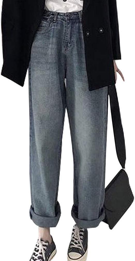 SHUOSENレディース デニム ジーンズ ロングパンツ ゆったり ワイドパンツ デニム ポケット付き カジュアル 体型カバー