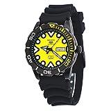 seiko yellow dial - Seiko 5 Sports #SRPA11 Men's Gunmetal Tone Black Rubber Band Yellow Dial Automatic Watch