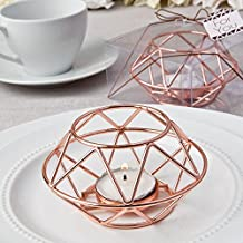 Geometric Design Rose Gold Metal Tealight Candle Holders , 12