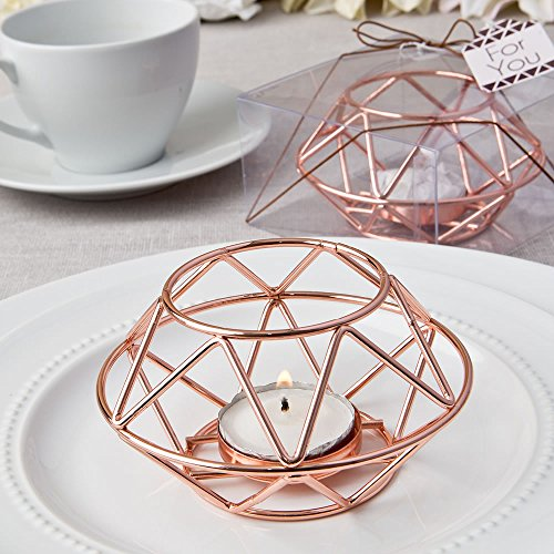 FavorOnline Geometric Design Rose Gold Metal Tealight Candle Holders, -