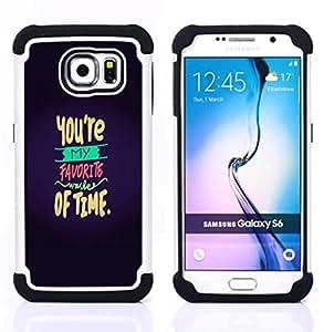 """Samsung Galaxy S6 / SM-G920 - 3 en 1 impreso colorido de Altas Prestaciones PC Funda chaqueta Negro cubierta gel silicona suave (Usted es favorita Amor de San Valentín dulce"""")"""