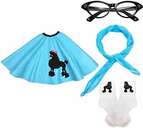 50s Girls Costume Accessory Set - Poodle Skirt, Chiffon Scarf, Cat Eye Glasses,Bobby Socks