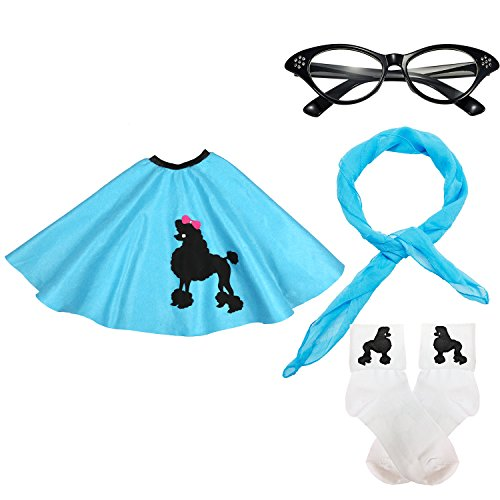 50s Womens Costume Accessory Set - 1950s Poodle Skirt, Chiffon Scarf, Cat Eye Glasses,Bobby Socks w/Poodle Applique (Blue)