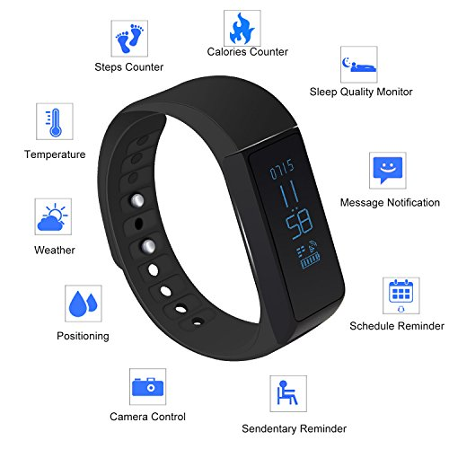 LUCOG Fitness Tracker Smart Bracelet Wristband - I5 Plus Activity Tracker Wellness Smart Watch Health Sleep Monitor w/ Step & Calorie Counter Morning Waking Up Vibration Alarm (I5 plus (Lh Manual Remote)