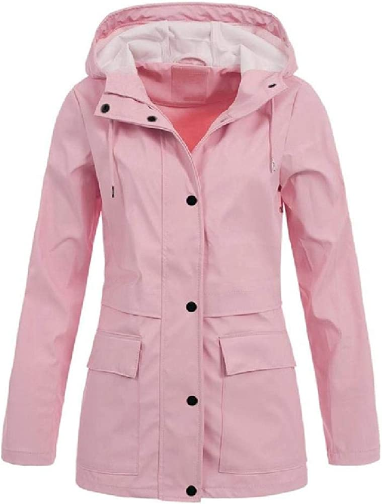 Chaqueta de lluvia con capucha a prueba de viento de avena de las mujeres Casual Plus Size Outdoor