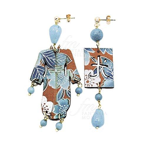 Boucles d'oreilles kimono pierres bleu clair soie japonais 2016Lebole 5717