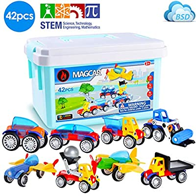 Blazing Studio 42 PCS 3D Take Apart Magnetic Automobile Race Cars Planes Buldozer Construction Vehicle Set to Develop Creativity Imagination in Architecture Geometry - Forty Two Pieces STEM Toy: Toys & Games