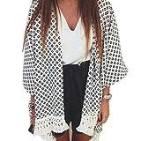 Po®Women Geometry Printed Chiffon Tassel Shawl Kimono Cardigan Tops Cover up