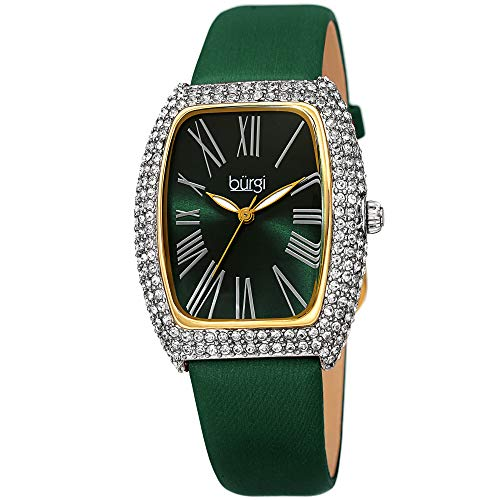 Burgi Rectangle Swarovski Crystal & Diamond Watch - Accented Leather Strap Women's Watch - Roman Numerals - Mother's Day Gift- BUR237GN ()